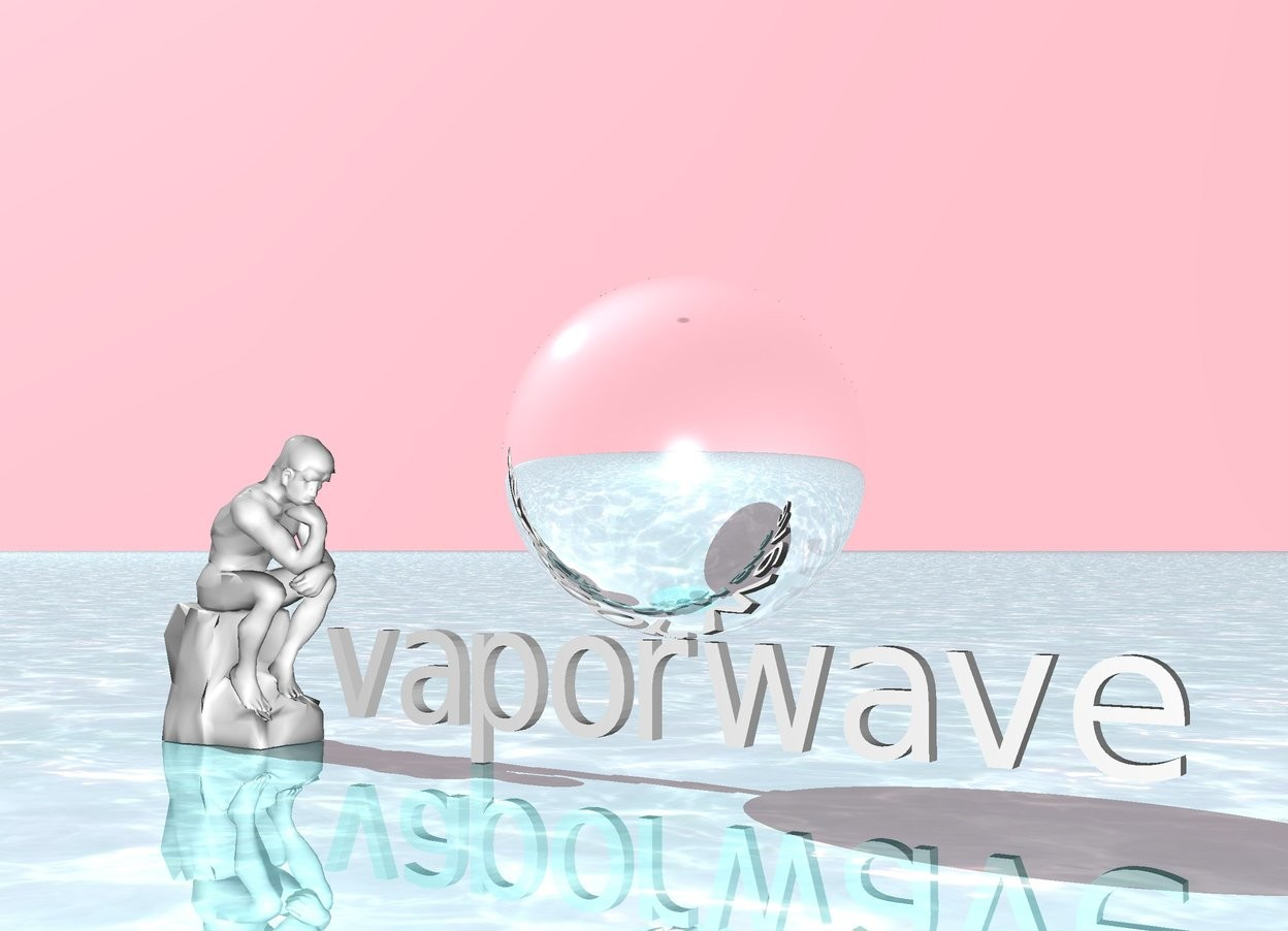 Input text: vaporwave.  the sky is pink.  the ground is shiny water.  There is a giant shiny silver sphere above the vaporwave. There is a statue facing the sphere