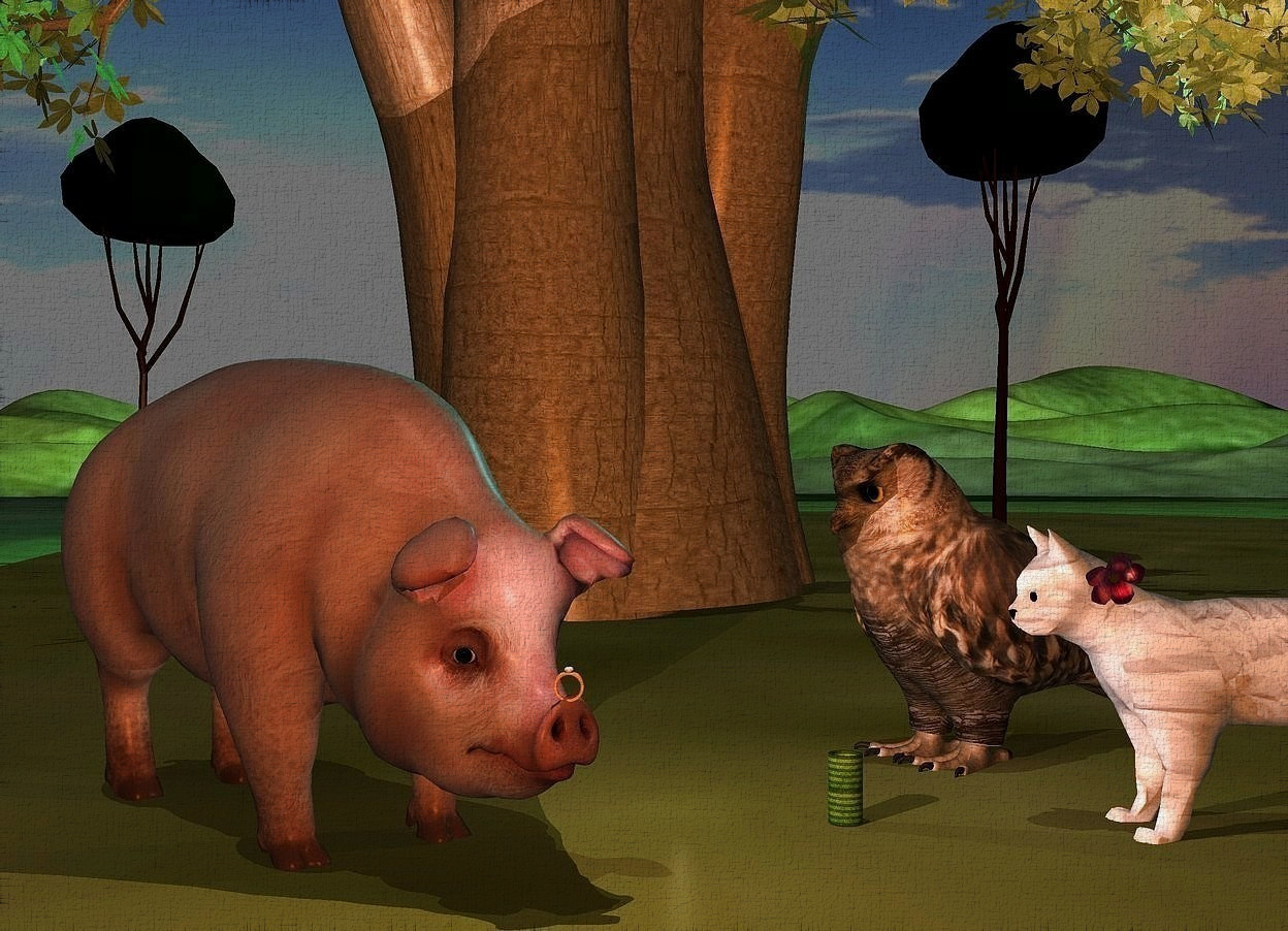 Input text: a large pig is -1 feet in front of a baobab tree. the tree is -0.1 feet above the ground. the pig faces southeast. a large shiny ring is -2.17 feet above and -0.8 feet to the front of and -0.9 feet to the right of the pig. 1st 15 feet tall ebony tree is -6 feet behind and -12 feet right of the baobab tree. 2nd 12 feet tall ebony tree is -8 feet behind and -10 feet left of the baobab tree. a large owl is 0.5 feet right of and -1.4 feet behind the pig. it faces the pig. a large [texture] cat is 0.6 feet in front of and -2.8 feet right of the owl. it faces the pig. a 1 feet tall [flower] daffodil is -1.2 feet above and -1.2 feet left of and -0.38 feet to the front of the cat. it leans right. a 6 inch tall and 3 inch wide [pattern] tube is 1 feet left of the cat and on the ground. the ground is grass. the camera light is old gold. the sun's azimuth is 210 degrees. the sun's altitude is 78 degrees. the sun is dim. a lilac light is on the ring. a cyan light is on the 1st ebony tree. a  lavender light is 6 inches to the front of and -1 feet above the 2nd ebony tree. a dim beige light is 3 inches southwest of the owl.