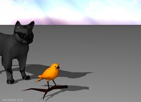 A bird sit in front of a cat.