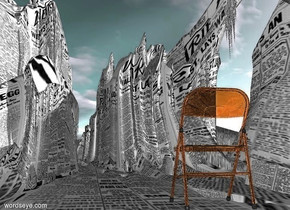 the ground is newspaper. ground is 180 feet tall and 400 feet wide.a clear orange folding chair is 90 inch above the ground.ambient light is 80% dim gray.