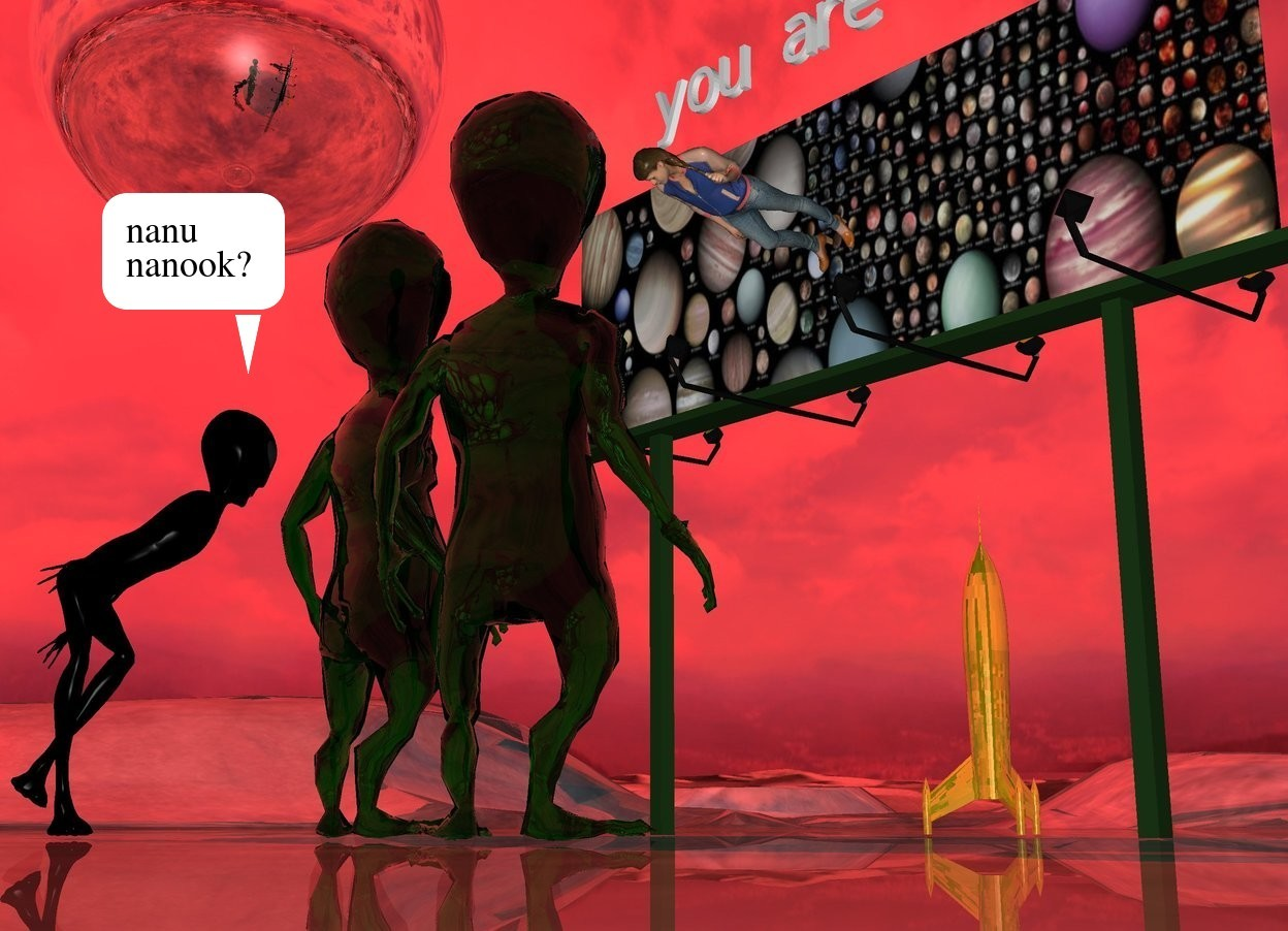 """Input text: the [planets] billboard is 10 feet wide. the 3 transparent aliens are 3.5 feet in front of the billboard. they are three feet apart. they are facing the billboard. the sun is red. the very huge silver sphere is 7 feet to the left and 3 feet above the billboard. the small """"you are here"""" is six inches above the billboard. the small woman is in front of the """"you are here"""". woman is face down. woman is -2 feet above the billboard. she is face down. the very tiny gold rocket is behind the billboard. the ground is shiny."""