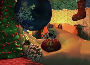 a giant [present] pumpkin is 4 feet above the ground. a elf is -2 feet above the pumpkin. it faces southeast. a present is -0.2 feet above the elf. a 20 feet tall tan hand faces back. it is -6.6 feet above and -11.4 feet to the right of and -9 feet to the front of the pumpkin.it leans 90 degrees to the right. the nail of the hand is red. 1st 3.5 feet tall Christmas ornament is -1.8 feet left of and 0.1 feet in front of and -5.9 feet above the pumpkin. it leans 40 degrees to the right. 2nd 16 feet tall  matte [Christmas] Christmas ornament is -14.6 feet to the right of and 3 feet behind and 0.3 feet above the pumpkin. a large bell is 1.4 feet to the front of and -3.1 feet above and 0.8 feet left of the pumpkin. it leans right. a 20 feet tall [stone] fireplace is 6 feet behind the hand and on the ground. a 8 feet tall Christmas stocking is 0.01 feet to the front of and -8.7 feet above and -14 feet to the right of the fireplace. the interior of the fireplace is [brick]. the grate of the fireplace is [metal]. a giant fire is -1 feet behind the grate of the fireplace. a huge Christmas tree is left of and 0.5 feet behind the hand. it is -0.5 feet above the ground. 2 orange lights are -8 inches above the fire. 2 copper lights are 2 inches to the right of the orange lights. a 60 feet tall and 80 feet wide [tile] wall is behind the fireplace. the ground is [tile]. the camera light is dim turquoise. the sun is dim rust. 3 dim chartreuse  lights are -2 inches above and 2 inches to the front of the elf. a dim sage green light is 3 inches in front of the Christmas stocking. the sun's azimuth is 220 degrees. the sun's altitude is 78 degrees. a dim blue light is 2 inches to the front of the 2nd Christmas ornament.