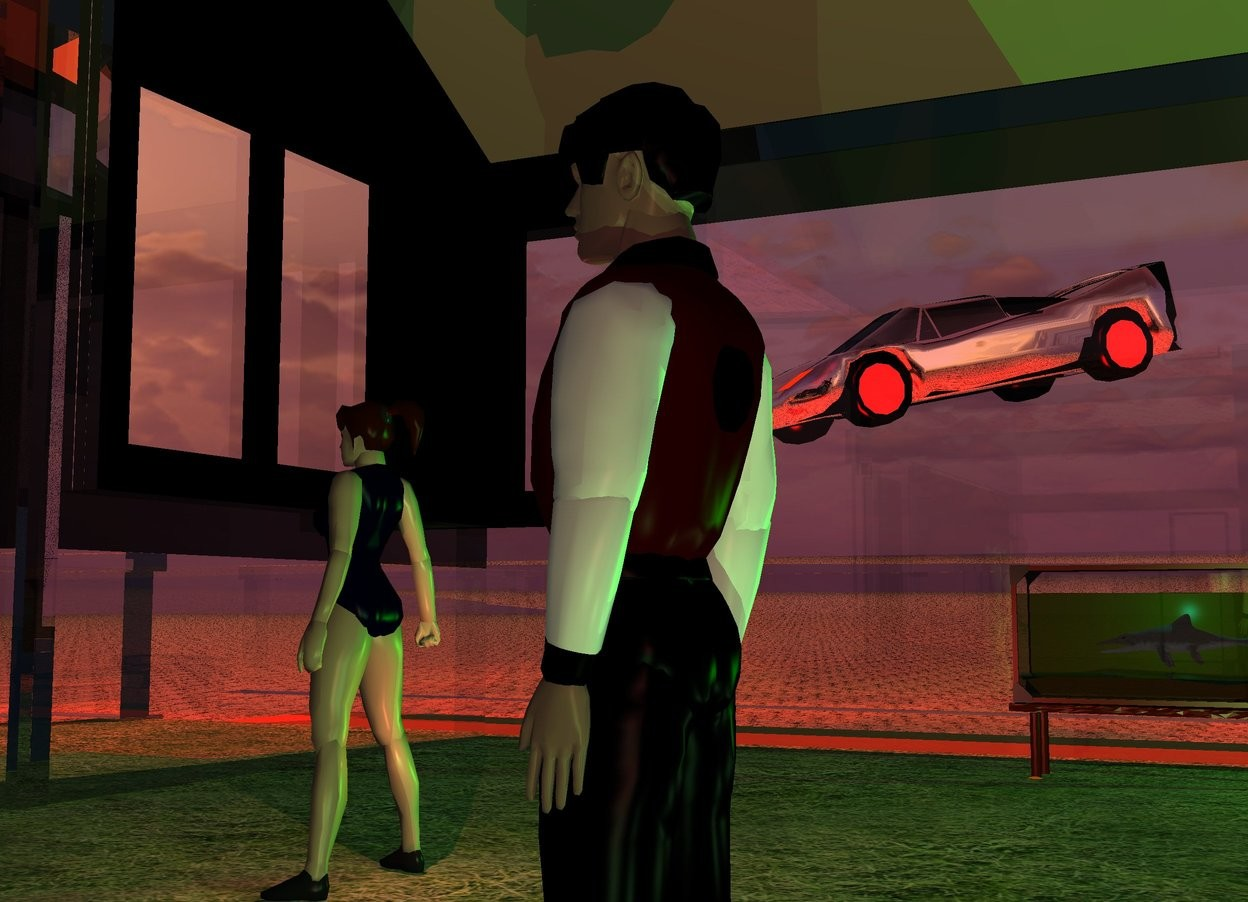Input text: A 1.8 feet high man is -25 feet in front of and -17.74 feet above a clear texture house. The sun is peach. 4 malachite green lights are behind the man. Camera light is brown. The shirt of the man is dark red. A 1.8 feet high woman is 2 feet in front of and 2 feet left of the man. A red light is -8 inches behind the woman. A scarlet light is -7 inches behind the woman. A silver car is 30 feet left of and 3 feet above and 2 feet in front of the man. It is facing southeast. It is leaning 12 degrees to the front. A 20 feet deep and 18 feet wide grass sheet is -17.75 feet above the house. A small aquarium is 7 feet left of the man. It is facing east. It is -17.9 feet above the house. The ground is sand. A lime light is behind the aquarium. 8 red lights are left of the house. 2 red lights are above the house. A 1 foot long fish is in the aquarium. It is facing south. A cyan light is -6 inch above the fish.