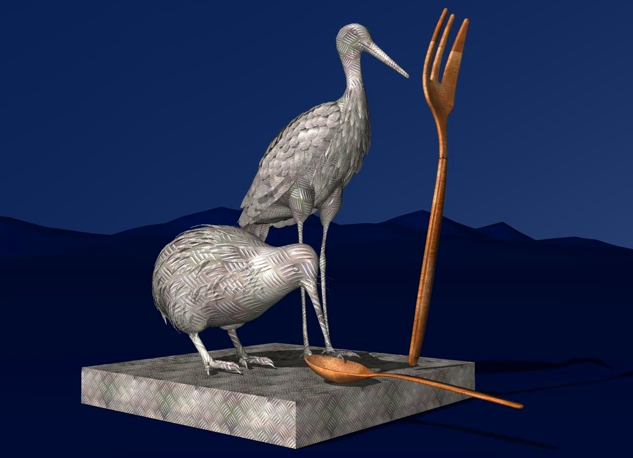 Input text: a [texture] stork is on a [texture] cube.the cube is 40 inch wide and 5 inch tall and 40 inch deep..a huge [wood] fork is in front of the stork.the fork leans 95 degrees to the front.the stork is 50 inch tall.sky is ink blue.ground is ink blue.a [texture] kiwi bird is left of the stork on the cube.a huge [wood] spoon is -4 inch in front of the kiwi bird.the kiwi bird is 20 inch tall.