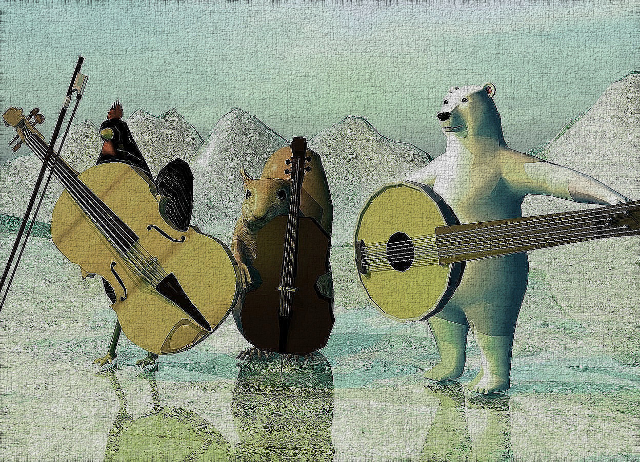 Input text: a large squirrel. a tiny bass is in front of the squirrel. the bass is -6 inches to the right of the squirrel. the bass is leaning 5 degrees to the left. a very small polar bear is to the right of the squirrel. the polar bear is -12 inches in front of the squirrel. a small banjo is in front of the polar bear. it is .6 foot over the ground. it is leaning 80 degrees to the left. the bear is facing southwest. the banjo is facing southwest. the ground is 10 feet high and 50 feet deep. the ground is shiny 5 inch tall [grass]. the ambient light is pale teal. 2 gold lights are 1 foot in front of the bass and 3 inches over the ground. the camera light is black. the sun is gold. 2 copper lights are over the squirrel and to the left of the squirrel. a  1.8 feet tall [peacock] chicken is 0.5 feet left of the squirrel.a [wood] violin is -0.3 feet to the front of the chicken.it faces southeast. it leans 85 degrees to the southeast. a bow is -0.6 feet  left of  and 0.8 feet to the front of the chicken. it leans 69 degrees to the right. 2 rust lights are 6 inches to the front  of and 3 inches above the chicken