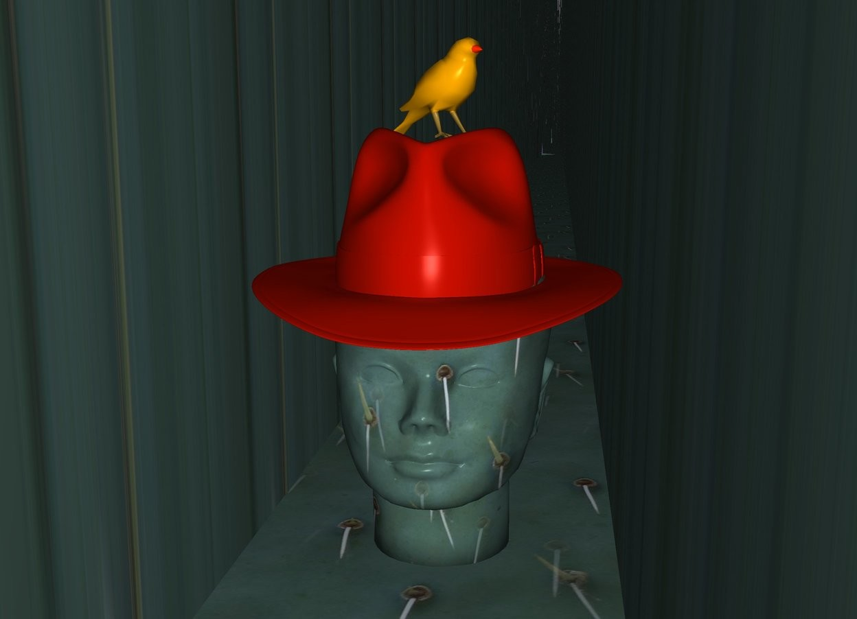 Input text: a [texture] head.ground is [texture].ground is 60 feet tall and 15 feet wide.a 5 inch tall hat is -2.9 inch above the head.the hat is  fire orange.a 2.7 inch tall bird is -0.5 inch above the hat.the bird is facing southeast.
