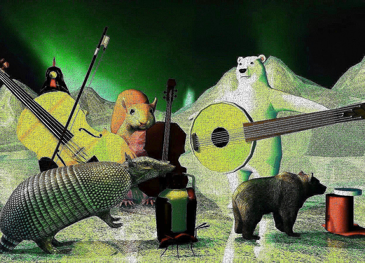 Input text: a large squirrel. a tiny bass is in front of the squirrel. the bass is -6 inches to the right of the squirrel. the bass is leaning 5 degrees to the left. a very small polar bear is to the right of the squirrel. the polar bear is -12 inches in front of the squirrel. a small banjo is in front of and -1.2 feet to the left of the polar bear. it is .55 foot over the ground. it is leaning 80 degrees to the left. the bear is facing southwest. the banjo is facing southwest. the ground is 10 feet high and 50 feet deep. the ground is shiny 5 inch tall [grass]. the ambient light is pale teal. 2 gold lights are 1 foot in front of the bass and 3 inches over the ground. the camera light is black. the sun is gold. 2 copper lights are over the squirrel and to the left of the squirrel. a  1.8 feet tall [peacock] chicken is 0.5 feet left of the squirrel.a [wood] violin is -0.3 feet to the front of the chicken.it faces southeast. it leans 85 degrees to the southeast. a bow is -0.9 feet  left of and 0.8 feet to the front of the chicken. it leans 69 degrees to the right. 2 rust lights are 6 inches to the front of and 3 inches above the chicken. an armadillo is in front of the bow. the armadillo is facing right. the armadillo is leaning 25 degrees to the back. it is -.4 feet over the ground. a .6 foot high jug is -3.5 inches to the right of the armadillo. it is 0 inches above the ground. a green bronze light is in front of the armadillo. the second brown bear is 4 inches to the right of the jug. it is 7 inches tall. it is facing right. the small red cylinder is to the right of the second bear. it is 4 inches tall.the small white cylinder is above the red cylinder. it is .5 inches tall. it is -2 inches to the right of the red cylinder. the red egg is to the right of the second bear. the white of the egg is red. the very large ant is 1 inch in front of the jug. it is facing right. the sky is 8550 feet tall [smoke]. a orange light is 1 inch above the jug. a magenta light is left