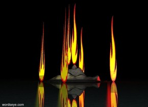 It is night. The ground is shiny water. A 100 foot tall 10 foot wide flame is on a granite mountain.   A 10 foot wide 100 foot tall flame is next to it. A red light is below it.   A 10 foot wide 100 foot tall flame is behind it. A red light is below it. The flame is 10 feet wide.  A 10 foot wide 100 foot tall flame is next to the mountain. A red light is below it. The flame is 10 feet wide. A yellow light is next to it.  A 10 foot wide 100 foot tall flame is in front of the mountain. A red light is below it. The flame is 10 feet wide.  A yellow light is next to it.  A 10 foot wide 100 foot tall flame is behind the mountain. A red light is below it. The flame is 10 feet wide.  A yellow light is next to it.