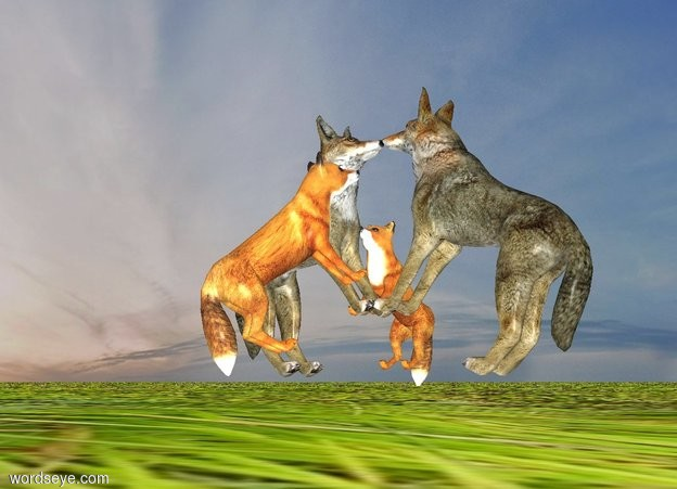 Input text: It is night. The ambient light is white. The ground is grass.  A 1st 2 foot tall wolf is leaning 30 degrees to the back. A 2nd 2 foot tall wolf is facing the wolf. The 2nd wolf is -1.4 feet in front of the 1st wolf. The 2nd wolf is leaning 30 degrees to the back. The 2nd wolf is -0.1 feet above the ground. The 1st wolf is -0.1 feet above the ground. A fox is facing the 1st wolf. The fox is leaning 45 degrees to the back. A 2nd fox is facing the 2nd wolf. The 2nd fox is leaning 45 degrees to the back. The 2nd fox is next to the 2nd wolf.