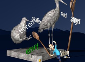 """a [texture] stork is on a [texture] cube. the cube is 40 inch wide and 5 inch tall and 40 inch deep. the cube is on the ground. a huge [wood] fork is in front of the stork. the fork leans 95 degrees to the front. the stork is 50 inch tall. sky is ink blue. ground is ink blue. a [texture] kiwi bird is left of the stork on the cube. it is -10 inches behind the stork. it is leaning 50 degrees to the back. a huge [wood] spoon is -4 inch in front of the kiwi bird. the kiwi bird is 20 inch tall. the spoon is leaning 40 degrees to the front. it is 2 inches above the ground. the tiny man is -7 inches in front of the spoon. he is facing left. he is on the ground. the tiny """"anger"""" is 10 inches above and 6 inches in front of the man. he is leaning 20 degrees to the left. a fried egg is 1 feet right of the man. 1st tiny """"happy"""" is -7.5 inches to the left of and on the egg. """"happy"""" is upside down. """"happy"""" is cream. The tiny """"bored"""" is -1.4 feet to the front of the kiwi and 1.3 feet above the cube. """"bored"""" faces southwest. """"bored"""" leans 38 degrees to the right. a 6 inch tall """"sad"""" is 1 foot to the right of and -1.3 feet above the stork. """"sad"""" leans 10 degrees to the left. a tiny """"sullen"""" is -0.7 feet to the left of and -2.5 feet to the front of and -2.1 feet above the stork. """"sullen"""" leans 20 degrees to the southwest. a tiny green """"envy"""" is -0.6 feet to the front of and -0.8 feet to the left of and on the cube. """"envy"""" faces south. """"envy"""" leans 20 degrees to the right. 2nd fried egg is 0.1 feet to the front of and -0.3 feet to the left of the cube. it leans 90 degrees to the front. it is -0.1 feet above the ground."""