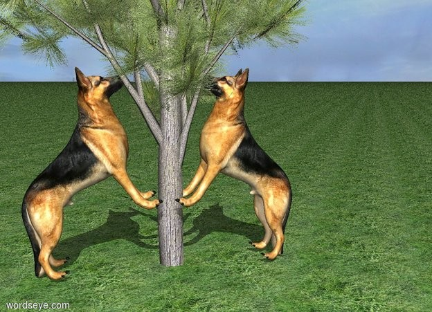 Input text: A dog is leaning 35 degrees to the back. He is -0.15 feet above the grass ground. A tree is -6 feet in front of him. A 2nd dog is facing him. He is -7.5 feet in front of the tree. He is leaning 35 degrees to the back. He is -0.15 feet above the grass ground.