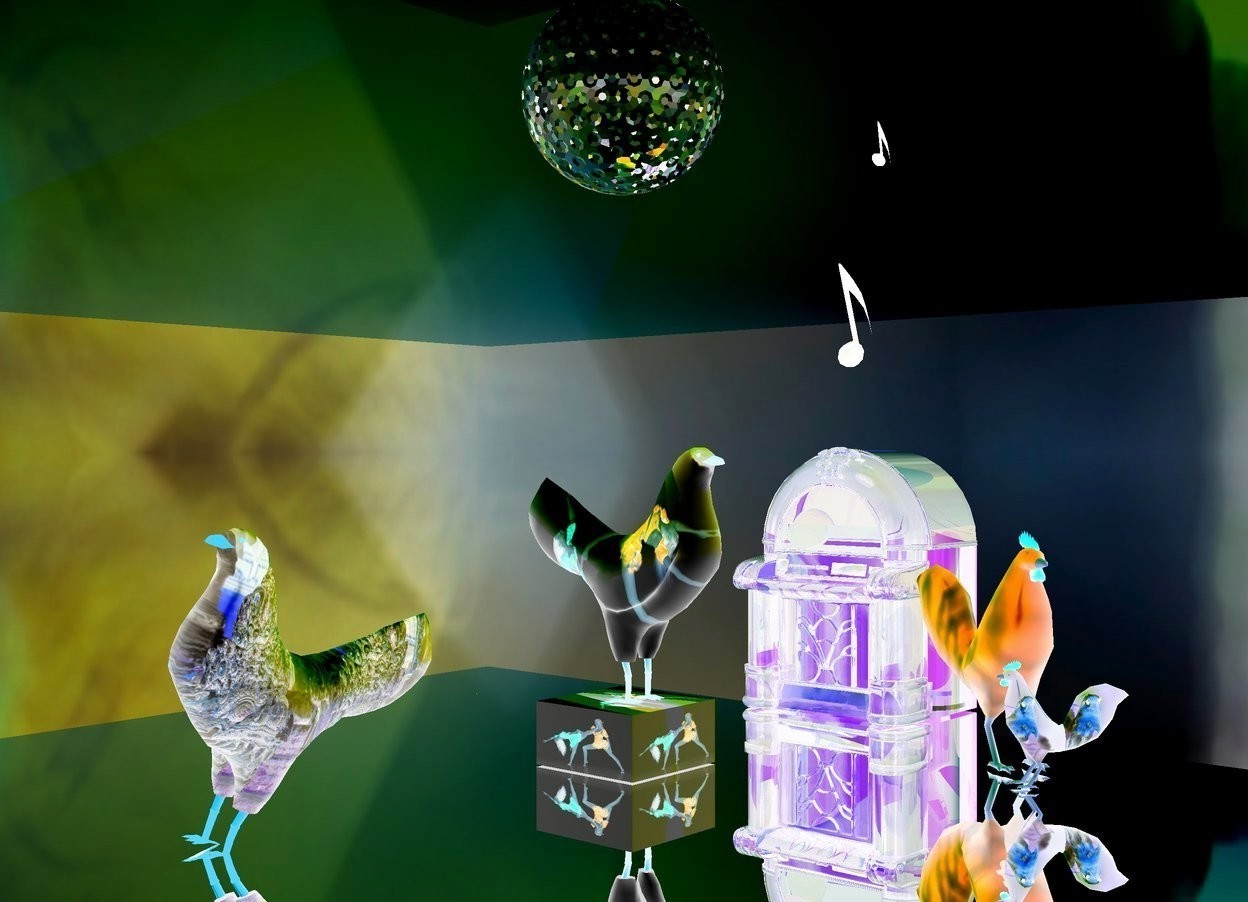 Input text: 1st  [dance] chicken is on a [dance] cube. the cube is 6 inches tall and 1 feet wide and 1 feet deep. a very huge silver golf ball is 2 feet above the 1st chicken. the ground is silver. 2 purple lights are 3 inches right of and 4 inches above the golf ball. 2 coral lights are 4 inches left of and 4 inches below the gold ball. the golf ball. a gold light is 2 inches above the golf ball. a 75 feet long and 75 feet tall shiny wall is 1 feet above and -35 feet behind  the golf ball. it leans 90 degrees to the front. the sky is [dance]. 2 blue lights are 3 inches to the front of and 1 inch below the golf ball. 2 violet lights are 3 inches behind and 4 inches above the golf ball. 2nd [asia] chicken is 1.5 feet left of the cube and -0.37 feet above the ground. it faces left. it leans northwest. 3rd small [feather] chicken is 2 feet in front of and 0.5 feet right of the cube. it faces northwest. 4th [feather] chicken is 0.43 feet in front of and 0.8 feet right of the cube. it faces the 3rd chicken. a small  clear chartreuse jukebox is 2 feet right of the cube. it faces left. the window of the jukebox is clear. the frame of the jukebox is clear red. 1st small eighth note is 0.7 feet above the jukebox. it leans right. 2nd tiny eighth note is 0.7 feet above and 1.4 inches in front of the 1st eighth note. it leans northwest.