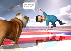 the man is 6 inches in the shiny ground. the [flag] texture is on the ground. the texture is 20 feet tall. he is leaning 20 degrees to the right. the dog is 7 feet in front of and 3 feet to the left of the man. the dog is facing the man. the dog is leaning 25 degrees to the right.