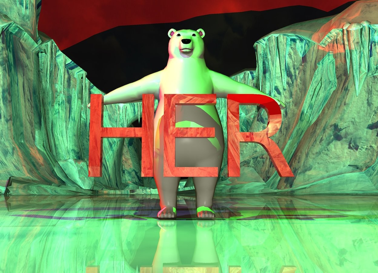 "Input text: the large shiny red  ""HER"" is in front of the bear. the ""HER"" is 1.5 feet above the shiny ground. it is dusk. the sun is red. the lime light is above and 3 feet in front of the bear.  the mauve light is 3 feet to the left of the lime light. the camera light is grey."