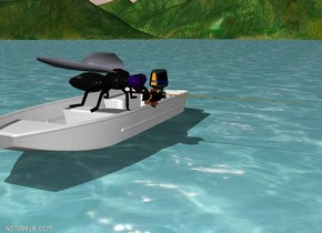 the ocean. a boat is -1 foot above the ocean. a 2 foot tall  fly is -1 foot above the boat. the fly is facing east. a fishing pole is -1 foot east of the fly. it is facing east.