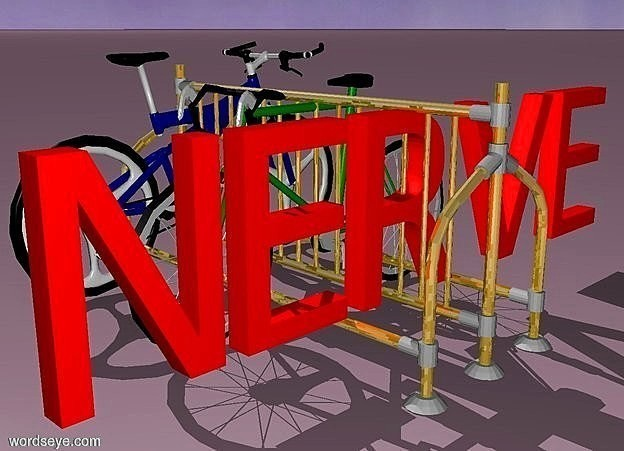 "Input text:  a metal bicycle rack. a 1.8 feet tall red ""NERVE"" is -2.1 feet above and -1.3 feet to the right of  the bicycle rack. it faces right. 1st 2.6 feet tall green  bicycle is 0.6 feet left of the ""NERVE"" and on the ground. 2nd bicycle is 0.8 feet left of the 1st bicycle. it faces back.the ground is lilac"