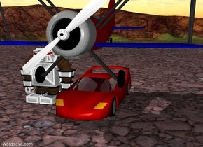 A robot is next to a car. An  airplane above the car. .
