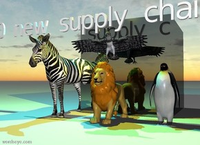 """the huge shiny black cube is behind the small lion.  the small zebra is one foot to the left of the lion. the small bird is one foot to the right of the lion.  the eagle is one inch above the lion. small """"2030 new supply chain"""" two inch above the zebra.    The cyan light is two feet above the zebra. The yellow light is two feet above the lion."""