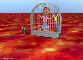 The tiny trump fits in the huge birdcage. The trump is 6 feet tall. The birdcage is 8 feet tall and 9 feet wide. The birdcage is 10 feet long. The woman fits in the birdcage. The woman is to the right of trump. The woman is 7 feet tall and 2 feet wide. The woman is 2 feet from trump. The tiny bird is on the cage. the ground is fire. The tiny elephant is two feet from the birdcage.