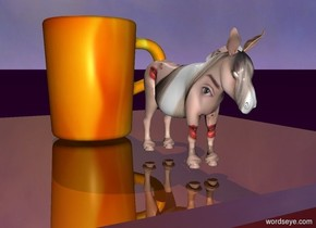 The small shiny table is on the purple ground. The [fire] mug is on the table. The 4 inch tall donkey is two inches to the right of the mug. The donkey has a [eye] texture. It is facing right.