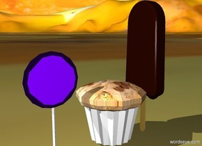 The sky is [Orange]. The ground is [fruit]. The   fudgesicle.  [cupcake] muffin is next to the fudgesicle. The lollipop