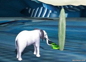 The pale blue elephant is 2 feet behind the tall cactus. The ground is [color]. The spider is on the cactus. The [banana] snake is to the right of the cactus