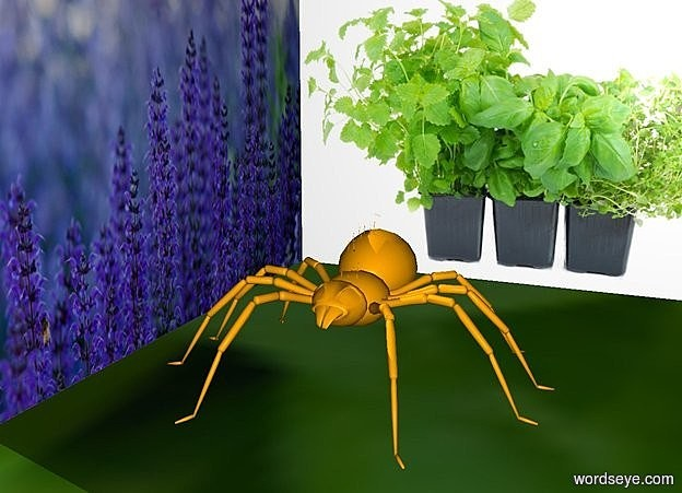 Spiders like no lavender and mint by KAWE (on WordsEye)