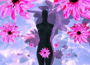 The ground is water. a huge black wall is 10 feet above the ground. the wall is leaning 90 degrees to the front. a clear woman is 6 inches in the ground. the woman is leaning 90 degrees to the back. a 1st reflective flower is 1 inch in the woman. a 2nd small reflective flower is 6 inches to the left of and 3 inches behind the 1st flower.  a 3rd small reflective flower is 6 inches to the right of and 3 inches behind the 1st flower. a 4th very small reflective flower is 8 inches to the left of and 6 inches in front of the 2nd flower. a 5th very small reflective flower is 8 inches to the right of and 6 inches in front of the 3rd flower.  a 6th big reflective flower is 8 inches behind the 4th flower and 6 inches to the left of the 2nd flower. a 7th big reflective flower is 8 inches behind the 5th flower and 6 inches to the right of the 3rd flower. a 9th very big reflective flower is 1.8 feet behind the 4th flower. a 10th very big reflective flower is 1.8 feet behind the 5th flower. a hot pink light is above the woman. the camera light is hot pink
