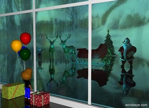 a 20 feet wide window.clear ground.[winter]sky.a boy is in front of the window.the boy is facing the window.a man is 20 feet behind the boy.a sleigh is 2 feet left of the man.the sleigh is facing left.the sleigh is red.a first animal is left of the sleigh.a second animal is 6 inches left of the first animal.the second animal is facing southeast.a elf is left of the second animal.the elf is facing the boy.a christmas tree is 15 feet behind the first animal.a first box is left of the boy.a second box is right of the boy.a cyan light is 4 feet in front of the sleigh.