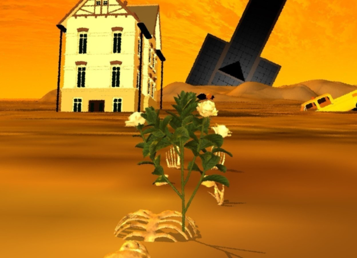 Input text: a flower. a building is 1000 feet north of the flower. the building is 180 feet in the ground. the building is leaning 25 degrees to the west. another small building is 45 feet north of the flower. it is 10 foot west of the flower. it is 5 feet in the ground. it is leaning 10 degrees to the north. a truck is 15 feet east of the building. the truck is 5 foot in the ground. it is facing the building. it is leaning 24 degrees to the south. the sun is orange. the ambient light is orange. a large bee is -1.5 inch above the flower. it is facing east. it is -5 inch east of the flower. a skeleton is -2 foot north of the flower. the skeleton is leaning 90 degrees to the north. it is 1.3 foot in the ground. it is facing north.