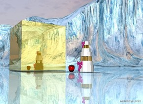 the apple is several inches in front of the cake. apple is facing right. the ground is shiny. the huge gold cube is 4 feet to the left of the apple.