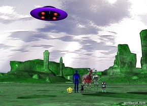 a transparent blue man. There is a tiny yellow robot. There is a big transparent purple dog. There is a pink transparent zebra. There is a white transparent man.  There is a pink transparent child. A small spaceship is  in the air. The spaceship is behind. The ground is light transparent green.