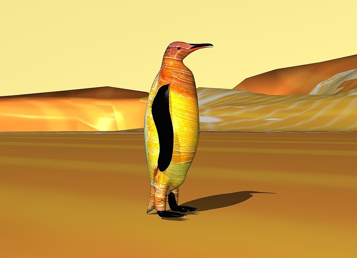 Input text: A [paint] penguin is on the [snow] ground. The sky is banana yellow.