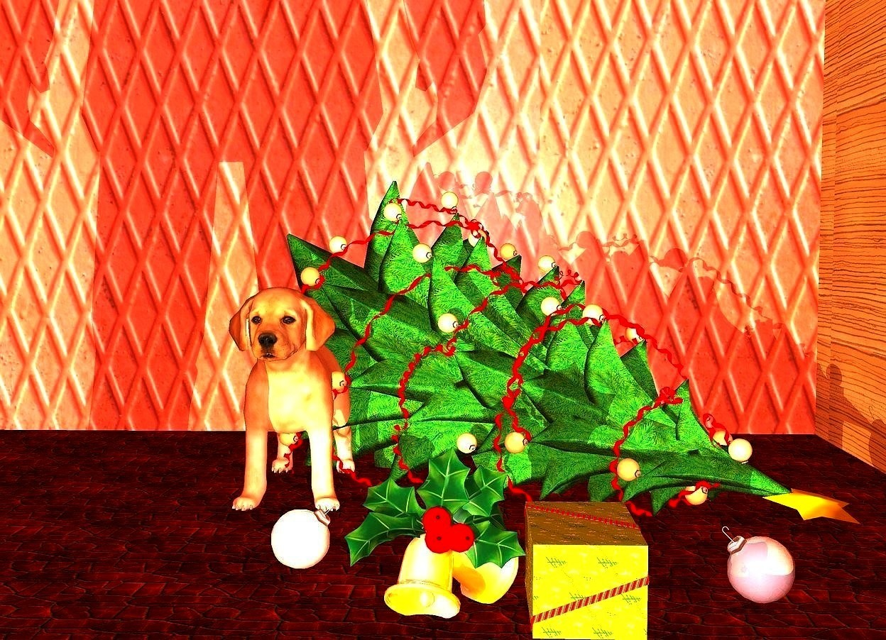 Input text: a very big dog is -2 feet to the left of a christmas tree. the tree is facing southeast. it is leaning 100 degrees to the front. it is 2 feet in the ground. the dog is 0 inches above the ground. a 1st  big ornament is 1 foot in front of  and -.5 foot to the right of the dog. it is leaning 45 degrees to the left. it is 1 inch in the ground. a 2nd big ornament is in front of and to the right of the first ornament.  a present is to the right of the 2nd ornament. it is leaning 90 degrees to the left. a 3rd big shiny baby blue ornament is .5 foot to the right of the present. it is leaning 45 degrees to the right. a 1st large [wall] wall is behind the tree. a 2nd large wood  wall is to the right of the tree. it is facing left. it is night. a 2 foot tall man is 12 feet in front and 1 foot to the left of the dog. a cream light is 1 foot in front of the man.  the ground is tile. the ambient light is dim copper.
