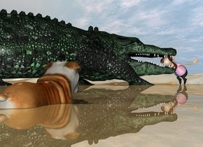a man is leaning 75 degrees to the front. the ground is shiny. the huge green crocodile is -3 feet in front of the man. it is 6 inches in the ground. it is facing back. a small dog is 14 feet to the right of the crocodile. it is facing the man.
