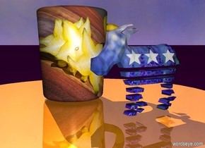 The small shiny table is on the purple ground. The [color] mug is on the table. The 4 inch tall donkey is three inches to the right of the mug. The donkey has a [color] texture. It is facing right.