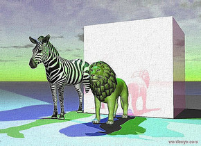 the huge shiny lavender cube is behind the small lion. the small zebra is one foot to the left of the lion. The cyan light is two feet above the zebra. The yellow light is one foot above the lion.