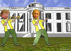A trumpet is -4 inch right of the head of trump. The trumpet is facing right. the white house is 100 feet behind Putin. Putin is 2 feet right of trump. the ground is grass