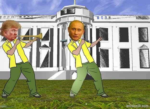 Input text: A trumpet is -4 inch right of the head of trump. The trumpet is facing right. the white house is 100 feet behind Putin. Putin is 2 feet right of trump. the ground is grass
