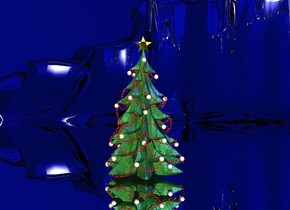 a christmas tree. the ground is silver. the sky is ink blue. 3 blue lights are 3 feet above the tree. a baby blue light is 2 feet above the tree. the sun is blue. a white light is 1 foot above the tree.
