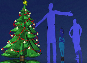 a 50 inch tall flat [IKB191] 1st man.the man is facing west.a 45 inch tall flat [IKB191] woman is 40 inch right of the man. the woman is facing east.a 1st 75 inch tall christmas tree is behind the man.sky is ink blue.ground is clear.ambient light is ink blue.a 30 inch tall flat [IKB191] 2nd man is 10 inch right of the 1st man.
