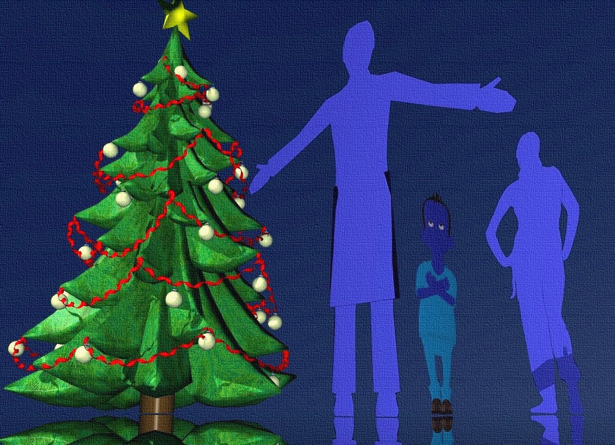 Input text: a 50 inch tall flat [IKB191] 1st man.the man is facing west.a 45 inch tall flat [IKB191] woman is 40 inch right of the man. the woman is facing east.a 1st 75 inch tall christmas tree is behind the man.sky is ink blue.ground is clear.ambient light is ink blue.a 30 inch tall flat [IKB191] 2nd man is 10 inch right of the 1st man.