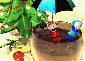 a large wine glass. a 1st very tiny elf is 3 inches in the glass. it is leaning to the right. a 2nd very tiny elf is -1 inch to the right of the 1st elf. it is leaning to the left. a tiny [christmas] umbrella is behind the first elf. the ground is shiny sand. a small christmas tree is 1 foot behind and -.5 feet to the left of the wine glass. a [christmas] starfish is .2 foot to the left of and .5 feet behind the wine glass. it is facing the wine glass.  the sun is cream. a copper light is over the glass. a lemon light is over the umbrella. a small [christmas] seashell is leaning 90 degrees to the right. it is in front of and -1 feet to the left of the starfish.