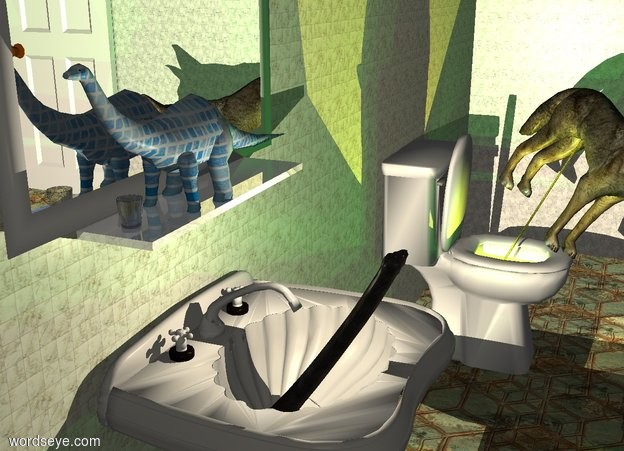 Input text: A tiny [modern] brontosaurus is on a large shiny white plank. The brontosaurus is facing west. The plank is in front of and -18 feet above a huge wall. The wall is 8 feet wide [tile] texture. A huge cream wall is right of the wall. It is facing west. It is 12 feet wide texture. A huge window is in front of the wall. The ground is 10 feet wide tile. The azimuth of the sun is 20 degrees. A huge toilet is -25 feet right of and -38.5 feet south of the wall. A huge sink is 14 feet left of and -9 feet in front of the toilet. A huge silver picture is behind the brontosaurus. A huge door is -5 feet right of and -7 feet south of the wall. It is facing east. An 8 inch tall and 7 inch wide and 7 inch deep glass is -2 foot left of the brontosaurus. A tiny dinosaur is -19 feet above and -11.5 feet in front of the sink. It is leaning 60 degrees to the back. Camera light is dark cream. A cream light is above the sink. A lemon light is in the toilet. 4 dim green lights are 1 inch above the light.   A 9 foot tall wolf is -6 feet in front of and -7 feet to the right of and -7.7 feet above the toilet. He leans 35 degrees to the southwest. He faces southwest. A 9 foot tall 1.2 inch wide transparent yellow cylinder is -5.7 feet to the north of and -7.5 feet to the east of him. It leans 35 degrees to the southwest.