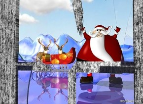 [rot]window.a first elf is 10 feet behind the window.[paint]ground.the ground is 100 feet tall.shiny ground.a [christmas]sleigh is 10 feet behind the first elf.the sleigh is 2 feet left of the first elf.the sleigh is facing left.a first deer is 6 inches behind the sleigh.a pink light is in front of the first deer.a second deer is left of the first deer.the second deer is facing southeast.