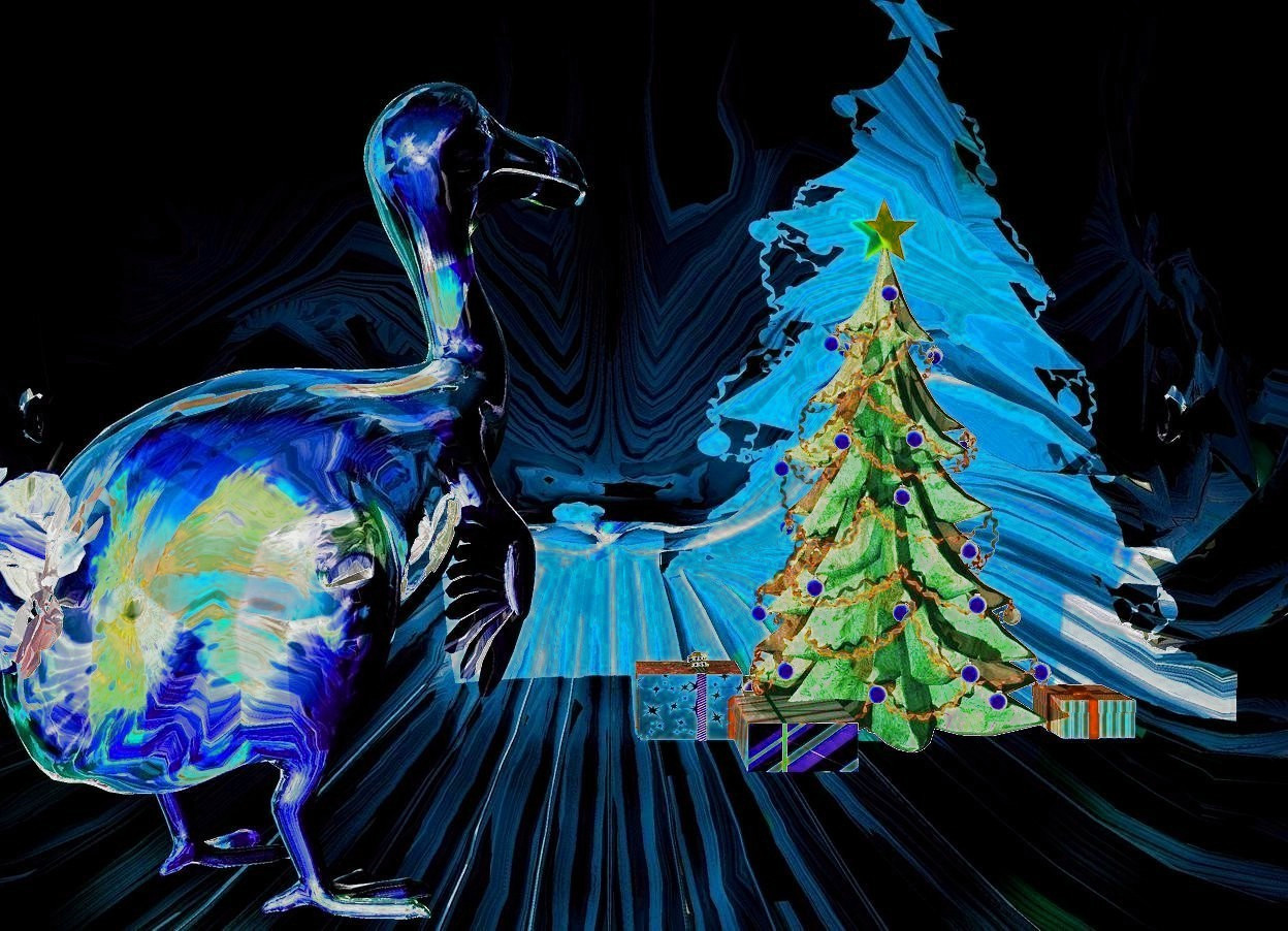 Input text: a shiny [christmas] whale.  a 5 feet tall shiny [christmas] dodo is -15 feet left of and -30 feet in front of and -10 feet above the whale. it is facing southwest. a 1st red light is right of the dodo. a 2nd white light is left of the dodo. the camera light is black. a 3rd blue light is 10 feet left of the dodo.  a 5 feet tall dull christmas tree is 0.5 feet left of and 1 feet in front of the dodo. a 0.7 feet tall 1st dull christmas present is right of the christmas tree. a 0.4 feet tall 2nd dull christmas present is behind and -0.1 feet left of the 1st christmas present. a 0.4 feet tall 3rd dull christmas present is left of the christmas tree.