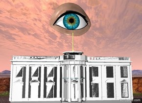 an eye is above  the white house. the eye is 50 feet wide.