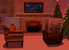 a [wall] fireplace. a 1st wood wall is 0 inches to the left of the fireplace. a 2nd 4 foot tall and 4 foot wide [wall] wall is 0 inches over the fireplace. a 3rd silver wall is 0 inches to the right of the fireplace.  12 very tiny Christmas wreaths are in front of the fireplace. they are 1.8 feet above the ground. a  1st small Christmas stocking is to the right of the Christmas wreaths. it is 1.4 feet above the ground. it is facing back. a 2nd small Christmas stocking is to the left of the Christmas wreaths. it is 1.4 feet above the ground. it is noon. a small [christmas] painting is 0 inches above the fireplace. it is in front of the 2nd wall.   the camera light is dim cream. the ambient light is brown red. the sun is dim copper.   a small Christmas tree is to the right of the fireplace. it is .5 foot in front of the wall. it is 0 inches above the ground.   a 1st small present is -1 foot to the left and in front of the Christmas tree.  a 1st small flame is -1.5 feet above the fireplace. a 2nd small flame is to the left of the 1st flame. a 3rd small flame is to the right of the 1st flame.  A first small chair is 1 foot in front and -1.5 feet to the right of the fireplace. it is facing left. a second small chair is 1.5 foot in front and -1 foot to the left of the fireplace. it is facing right.  the [nanook] cube is -6 inches above the first chair. a second [nheiges] cube is -8 inches above the second chair.