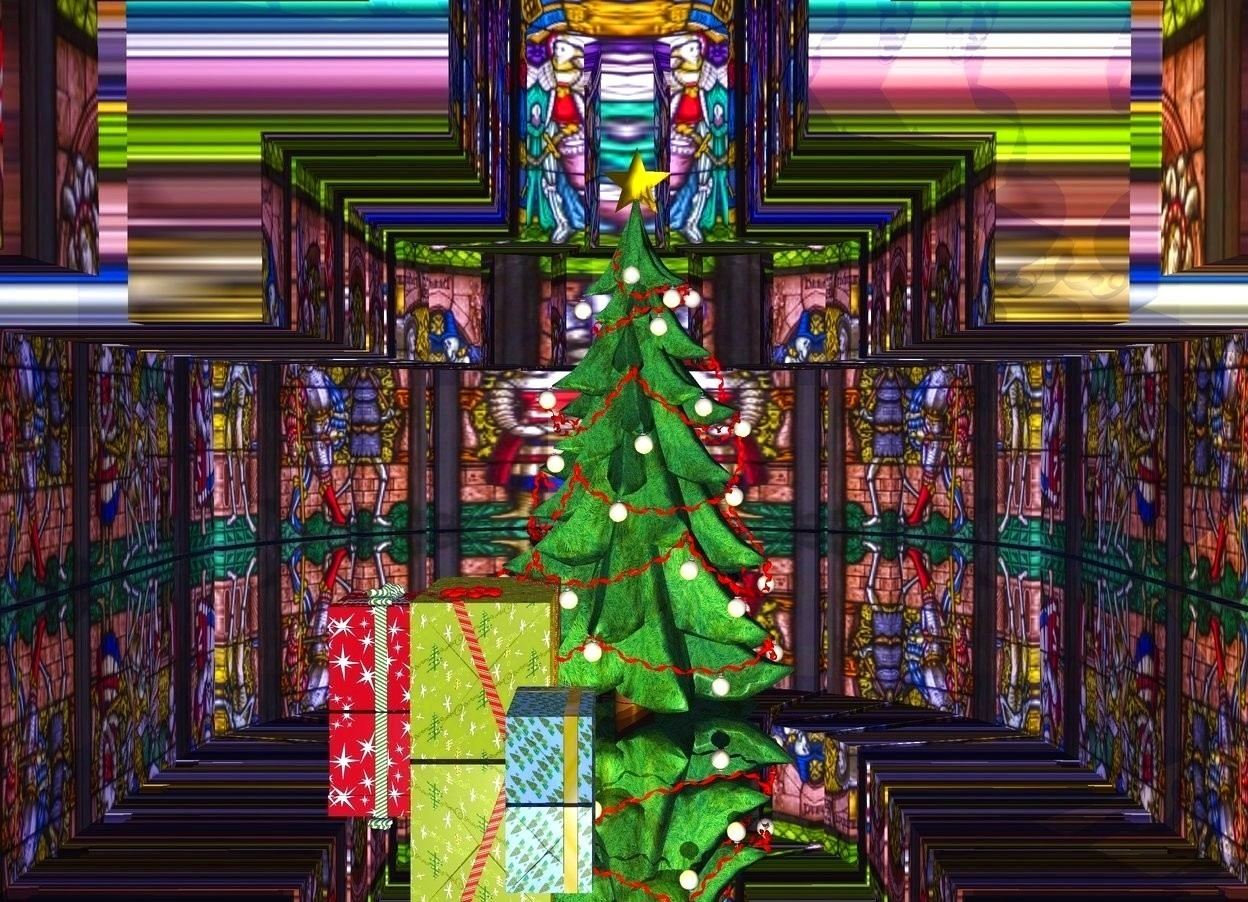 Input text: a large Christmas tree is 64 feet in a [Church] church. it is 0 inches over a gigantic silver floor. 2 gold lights are 1 foot in front of the christmas tree. a 1st very large present is to the left of the christmas tree. a 2nd very large present is in front of and -.7 foot to right of the 1st present. a 3rd very large present is in front of and -.8 feet to the right of the 2nd present. the ambient light is mauve. a dim lemon light is over the christmas tree.