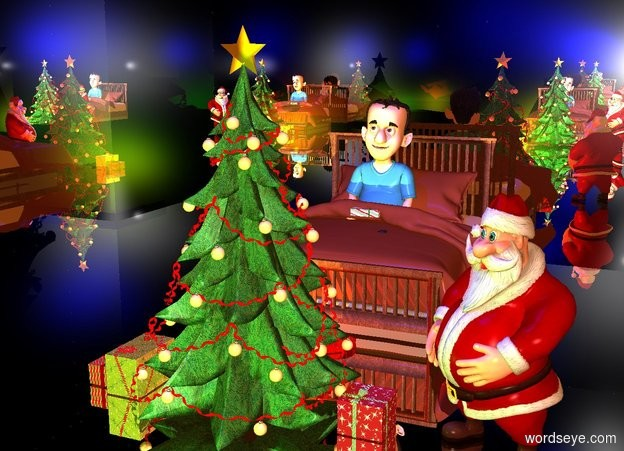 Input text: a 30 feet tall silver cube.a christmas tree is -30 feet above the cube.a green light is 2 feet in front of the tree.a blue light is 1 feet above the tree.a man is 1 feet right of the tree.the man is facing southwest.a first box is right of the tree.a red light is 1 feet behind the tree.a yellow light is 1 feet left of the tree.a second box is left of the tree.a third box is left of the second box.a fourth box is 1 feet behind the tree.the ambient light is old gold.a bed is 2 feet behind the tree.a boy is -42 inches above the bed.a box is -25 inches above the bed.